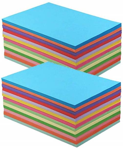 OFIXO 200 pcs (20 Sheet Each Color i.e. 20 * 10) Copy Printing Papers A4 Sheets Square Double Sided Colored Paper DIY Craft Unruled A4 70 gsm Coloured Paper
