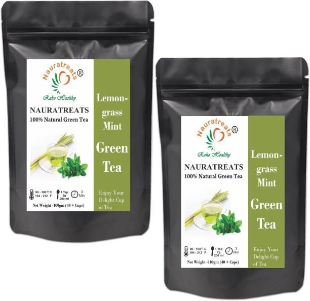 Nauratreats Lemongrass Green Tea and Mint Cold Brew Ice Tea Herbal Green Tea Pack of 2 (100gm X2) Lemon Grass Green Tea Pouch