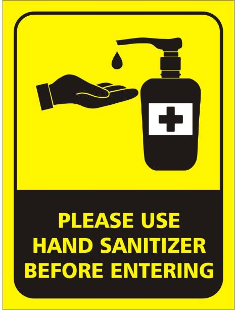 Wallsticks Use Sanitizer - Hand Wash - Coronavirus Safety Prevention - Covid19 Precautions - Office - School - Industries - Self Adhesive Posters (9x12 Inch) Emergency Sign