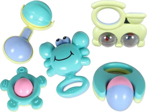 Toyvala 5 Pcs Attractive Jumbo Rattle With Various Exciting Toys For New Born's & Infants Rattle Rattle Rattle