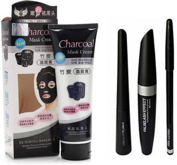 Miss Hot Combo 3 In 1, Eyeliner, Mascara, Eyebrow Pencil, & Charcoal mask