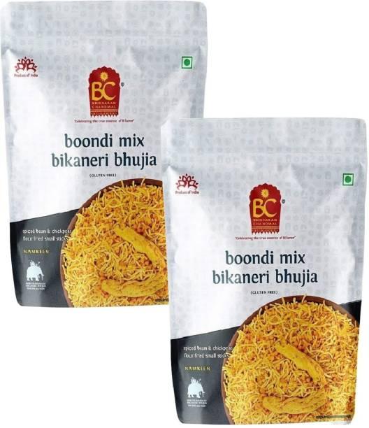 BHIKHARAM CHANDMAL Boondi Mix Bhujia 1kg (Pack of 2)