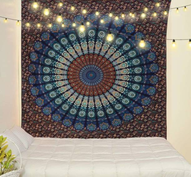 CRAZECULTURE Mandala Traditional Jaipuri Printed Cotton Tapestry Wall Decoration Bedsheet Bedcover Picnic Mat RR212 Wall Hanging Tapestry Tapestry
