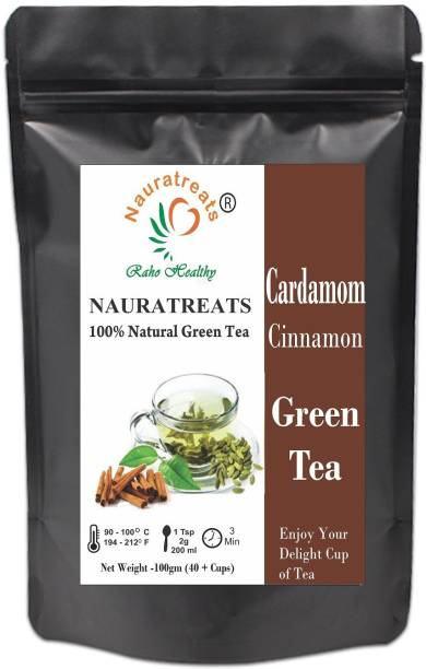 Nauratreats Cardamom and Cinnamon Loose Leaf Green Tea for Weight Loss 100g Cinnamon, Cardamom Green Tea Pouch