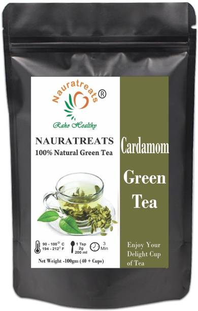 Nauratreats Cardamom Green Tea Signature Blend Loose Leaf Green Herbal Chai 100gm Cardamom Herbal Tea Pouch