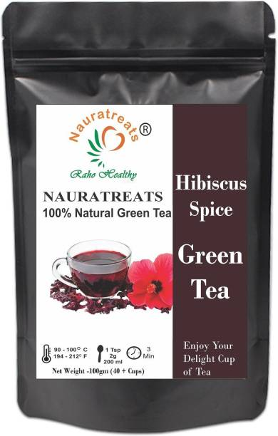 Nauratreats Hibiscus Spice Herbal Green Tea Hibiscus Green Tea Pouch