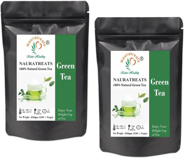 Nauratreats Green Loose Leaf Tea for Weight Loss | 100% Natural Loose Leaf Tea | Pure Green Tea with No Additives Pack of 2(250gm X 2) Unflavoured Green Tea Pouch