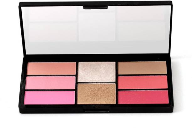 SWISS BEAUTY 8 Blush And Highlight Powder In Palette , Face Makeup, Shade-04 ,15 gm