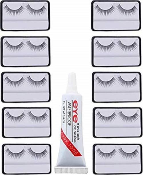 angelie Natural Black Thick Long False Eyelashes Makeup Extension Pack Of 10 Pair Fake Eyelash With Glue