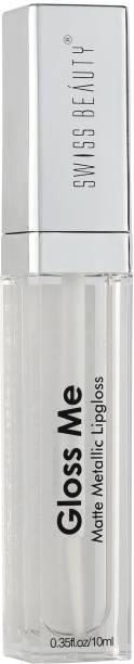 SWISS BEAUTY Matte Metallic Lipgloss Gloss ME, Lip Makeup, White, 10 ml
