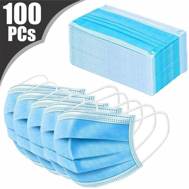 VeBNoR 100 Units Disposable 3 Layer Pharmaceutical Breathable Surgical Pollution Face Mask Respirator with 3 Ply For Men, Women, Kids 3 Layer Pharmaceutical mask (100) Surgical Mask