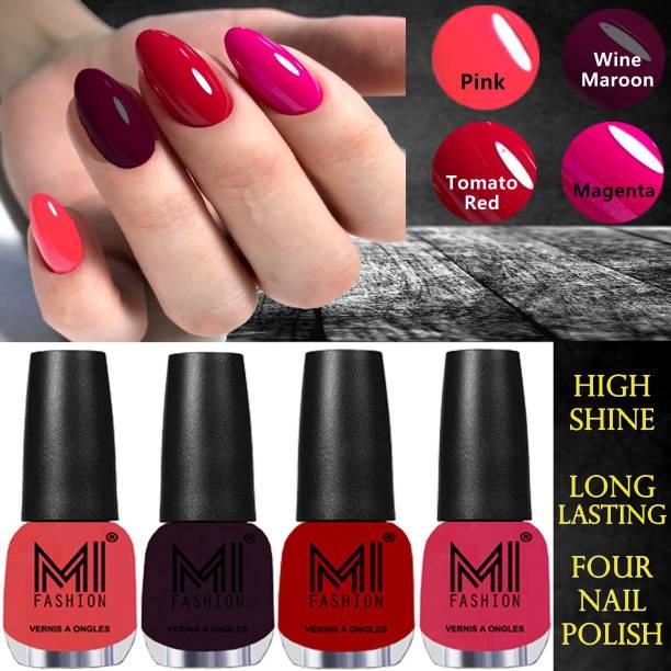 MI FASHION Ultra High 3D Shine Longest Lasting Nail Polish Set Paint Combo 12ml Each Pink, Wine Maroon, Tomato Red, Magenta
