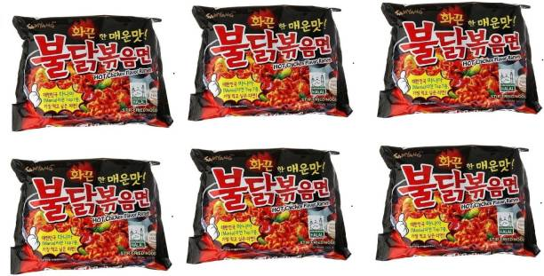 Samyang Hot Chicken Ramen Stir Fried Noodles, (Pack of 6)140gm Instant Noodles Non-vegetarian