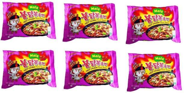 Samyang Hot Chicken Ramen MALA Noodles, 135gm (Pack of 6) Instant Noodles Non-vegetarian