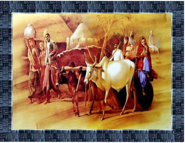 LiveArts Rajasthani Village View Digital Reprint 10.5 inch x 13.5 inch Painting