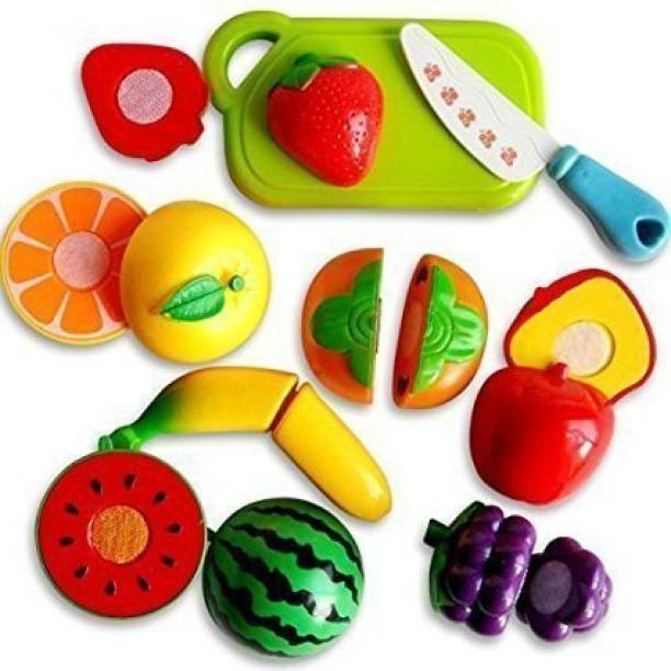 Smartcraft Realistic Sliceable 12 Pcs Fruits Cutting Play Toy Set, Can Be Cut in 2 Parts - Multicolor