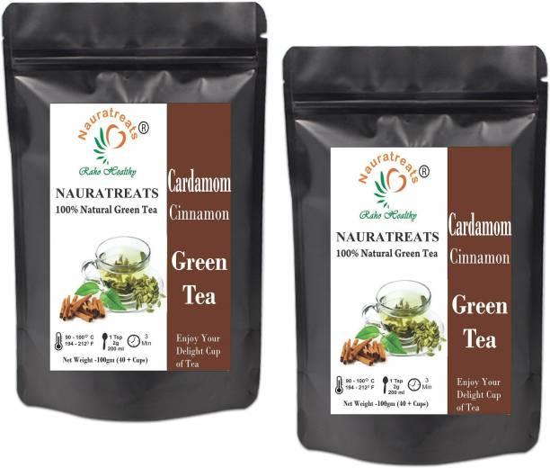 Nauratreats Cardamom and Cinnamon Loose Leaf Green Tea for Weight Loss Pack of 2 (100gm x2) Cinnamon, Cardamom Green Tea Pouch