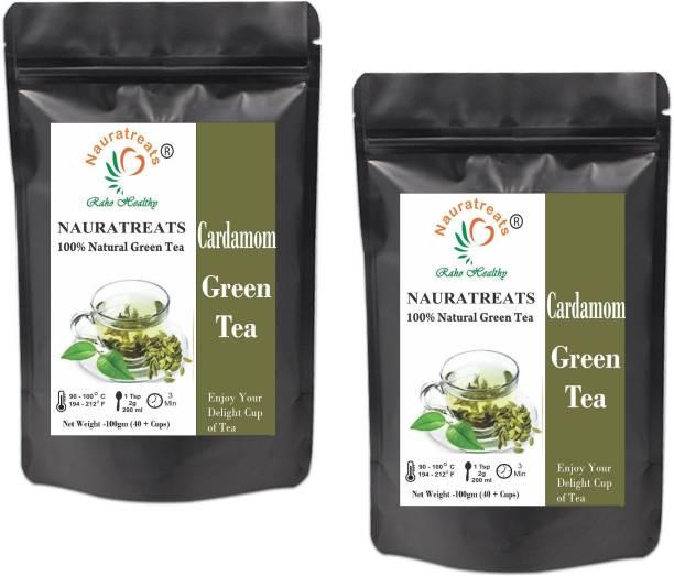 Nauratreats Cardamom Signature Blend Green Tea Loose Leaf Herbal Tea Pack of 2 (100gm x2) Cardamom Herbal Tea Pouch
