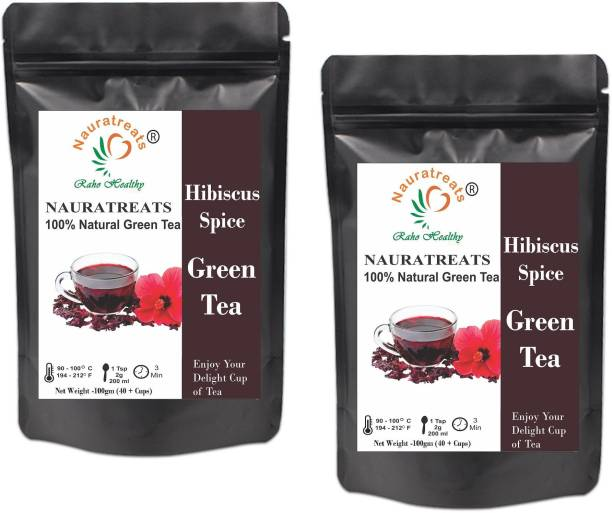 Nauratreats Hibiscus Spice Herbal Green Tea Pack of 2 (100gm x2) Hibiscus Green Tea Pouch