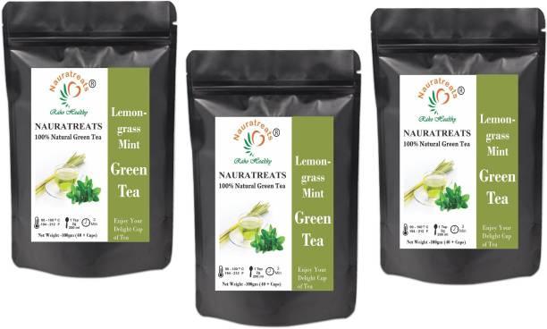 Nauratreats Lemongrass and Mint Cold Brew Ice Tea Herbal Green Tea Pack of 3 (100gm x 3) Green Tea Pouch