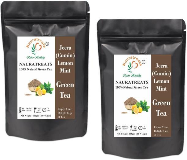 Nauratreats Jeera (Cumin) Lemon Ginger Mint Loose Leaf Green Tea Pack of 2 (100gm x2) Ginger Green Tea Pouch