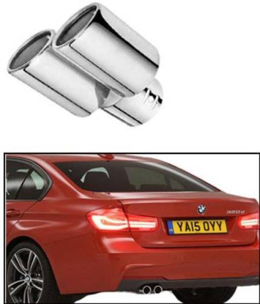UNIK PRODUCT A95 Round Twin Pipe Car Exhaust Silencer Tip Chrome  Car Silencer