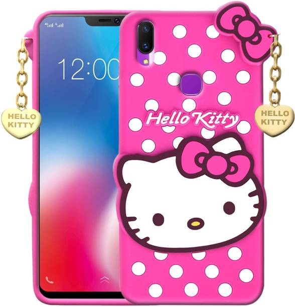 SUNSHINE Back Cover for Vivo Y11 - Hello Kitty Case | 3D Cute Doll | Soft Silicone Rubber Girl Back Cover with Pendant