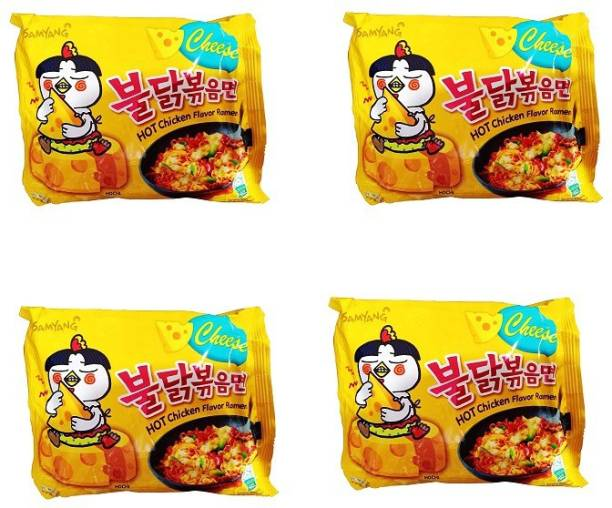 Samyang Hot Chicken Ramen Cheese Noodles,(Pack of 4) 140gm Instant Noodles Non-vegetarian