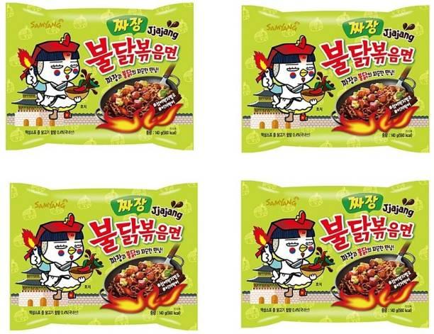 Samyang hot chicken ramen noodles jjajang (Pack of 4) 140 grams Instant Noodles Non-vegetarian