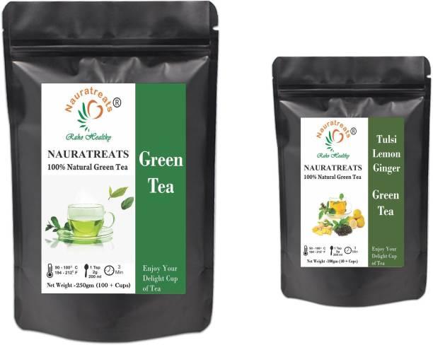 Nauratreats Green Tea Loose Leaf for Weight Loss (250g) & Tulsi Lemon Ginger Green Tea (100g) Tea Pack of 2 Tulsi, Lemon, Ginger Green Tea Pouch