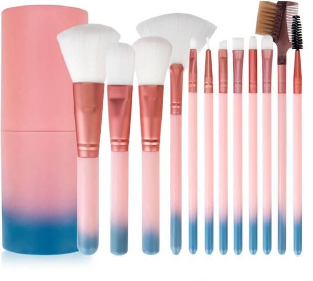 Yoana Professional Series Makeup Brush Set With Storage Barrel Gradient Pink Blue