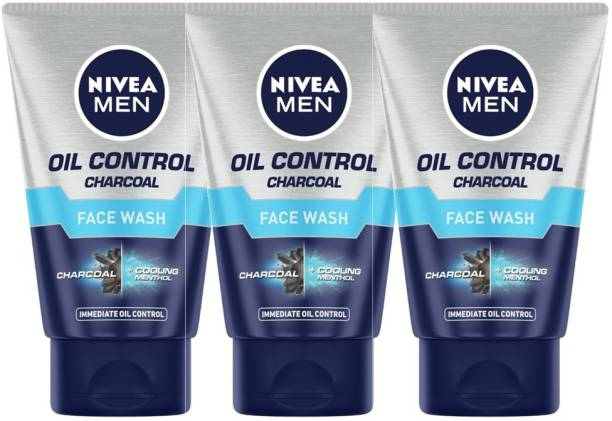NIVEA MEN Oil Control Charcoal , 100ml (Pack of 3) Face Wash