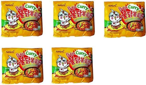 Samyang Hot Chicken Remen Buldak Curry Noodle, 140g(Pack of 5) Instant Noodles Non-vegetarian