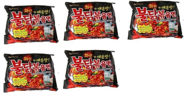 Samyang Hot Chicken Ramen Stir Fried Noodles, (Pack of 5)140gm Instant Noodles Non-vegetarian