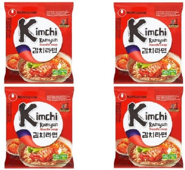 Nongshim Kimchi ramyun Noodle Soup (Pack of 4)120 grams Instant Noodles Non-vegetarian
