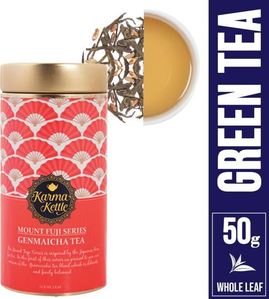 Karma Kettle Mount Fuji-Genmaicha Loose Leaf 50 Gm Tin Herbal Tea Tin