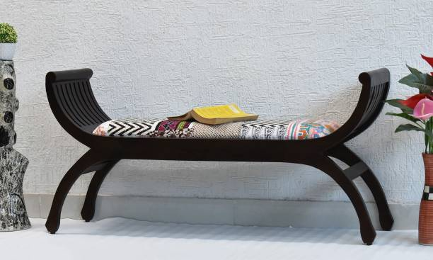 SamDecors solid sheesham wood two seater sofa senate dark brown with Printed Kantha Gudri patchwork in Cotton (lacquer finish, walnut) Solid Wood 2 Seater