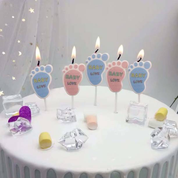 AMFIN (Pack of 5) Baby Shower Candles for Decoration / Welcome Baby Decoration / Baby Shower Party Decoration Kit / Foot Print Candle- Pink & Blue Candle