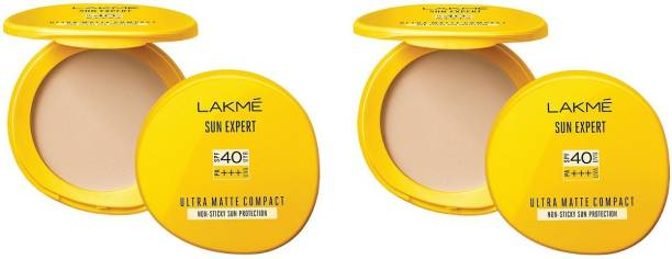 Lakmé Sun Expert Ultra Matte Compact SPF 40 UVA/UVB P+++(Pack of 02) Compact