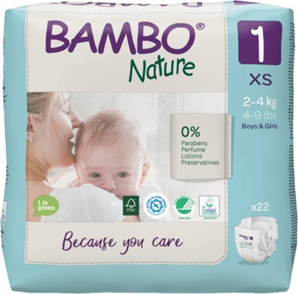 Bambo Nature Eco-Friendly Baby Diapers with Wetness Indicator - XS