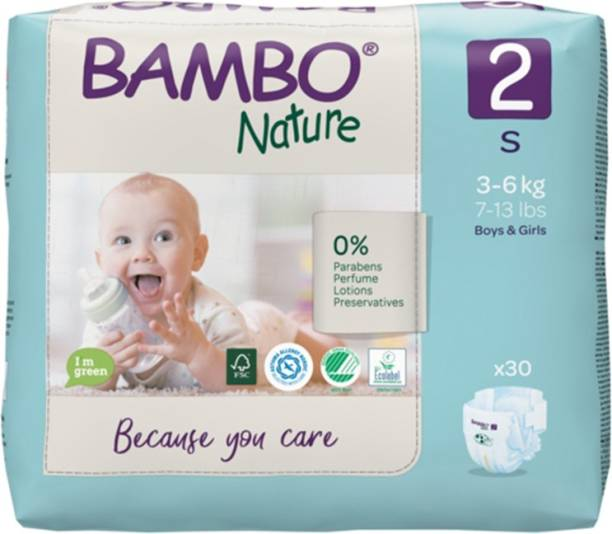 Bambo Nature Eco-Friendly Baby Diapers with Wetness Indicator - S