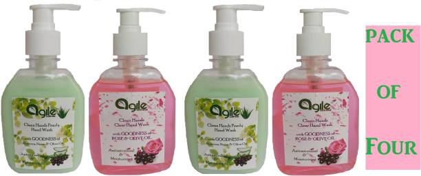 Agile Wellness Clean Hands Clear Hand Wash AND Pearly Hand Wash 4 x 250 ml = 1 L Premium Quality with moisturizing Hand Wash Pump Dispenser