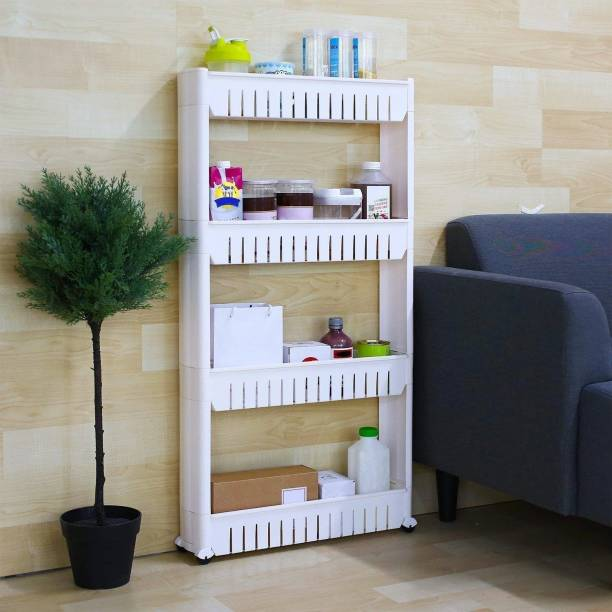 PARASNATH 4 Tier Kitchen Storage Organiser Rack Holder with Wheels(4 Layer, White) Made in India Plastic Kitchen Trolley