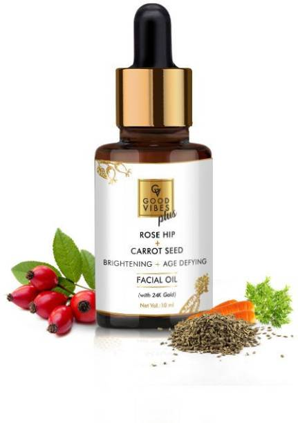 GOOD VIBES Plus Rose Hip + Carrot Seed Brightening + Age Defying Facial Oil with 24K Gold