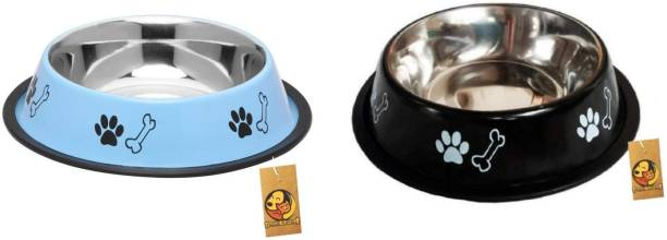 FOODIE PUPPIES Stainless Steel Combo Offer Paw Bone Printed Sky Blue And Night Black Food Water Feeding Bowl for Dogs & Puppies (Medium, 700ml Each) Round Steel Pet Bowl