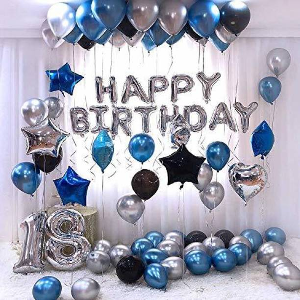 Rozi Decoration Solid Birthday Combo Pack Happy Birthday Silver Foil Balloons 13 Letters Set + Metallic Round Balloon (Black, Blue, Silver) 30 Balloons+ 13 Letters Balloon