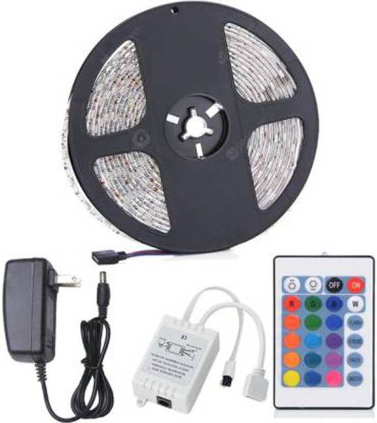 TANZILIGHT RGB LED Strip 5 Meters Length With 24 Key Remote and 2Amp Adaptor Recessed Ceiling Lamp