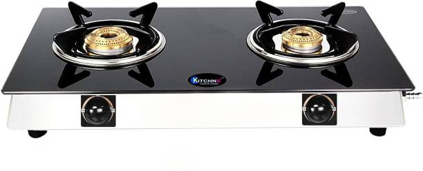 Kitchnx Toughened Glass top Stainless Steel Manual Gas Stove