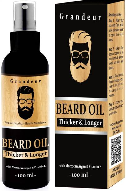 Grandeur Mooch And Beard Growth Oil For Men 100ml with Vitamin E and Argan Oil Hair Oil