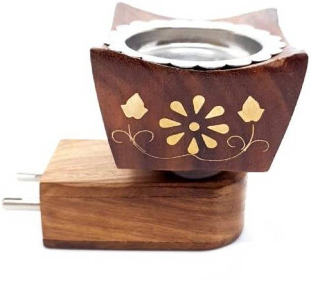 MDTL Mayukh Electric Wooden Plug Sheesham Wooden Carving Brass Inlay Work Aroma Oil Diffuser for Fragrance Direct Plug-in Incense Burner/Kapoor Dani, Sturdy Plug for Better Support Wooden, Brass Incense Holder